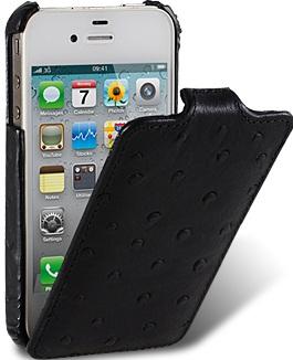 Чехол для iPhone 5 Melkco Ostrich (Страус) черный