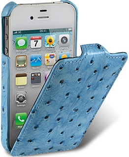 Чехол для iPhone 5 Melkco Ostrich (Страус) голубой