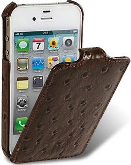 Чехол для iPhone 5 Melkco Ostrich (Страус) коричн.