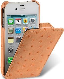 Чехол для iPhone 5 Melkco Ostrich (Страус) оранжевый